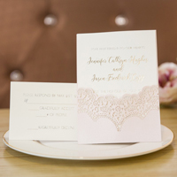 elegant blush pink laser cut pocket wedding invitations