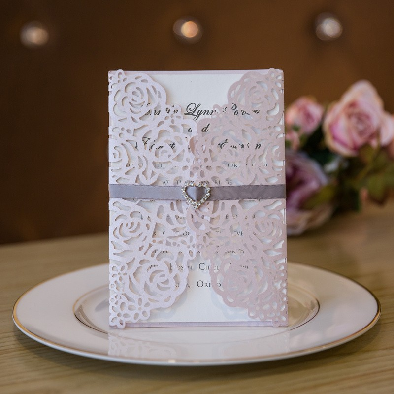 elegant laser cut floral pink and grey wedding invitation