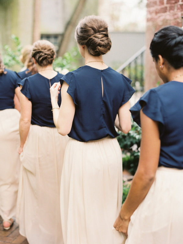 elegant-navy-blue-and-pink-bridesmaid-dresses-long