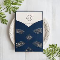 elegant navy blue laser cut pocket wedding invites