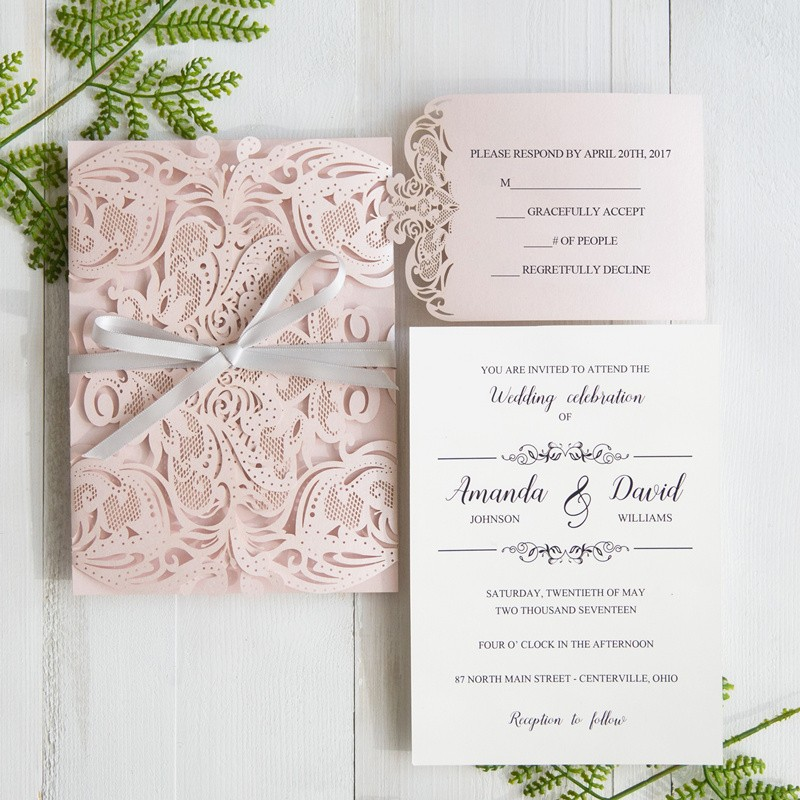 elegant pale pink and grey laser cut wedding invites