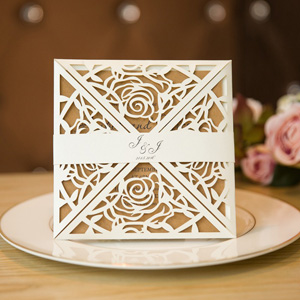 elegant rose laser cut wedding invitations with belly band