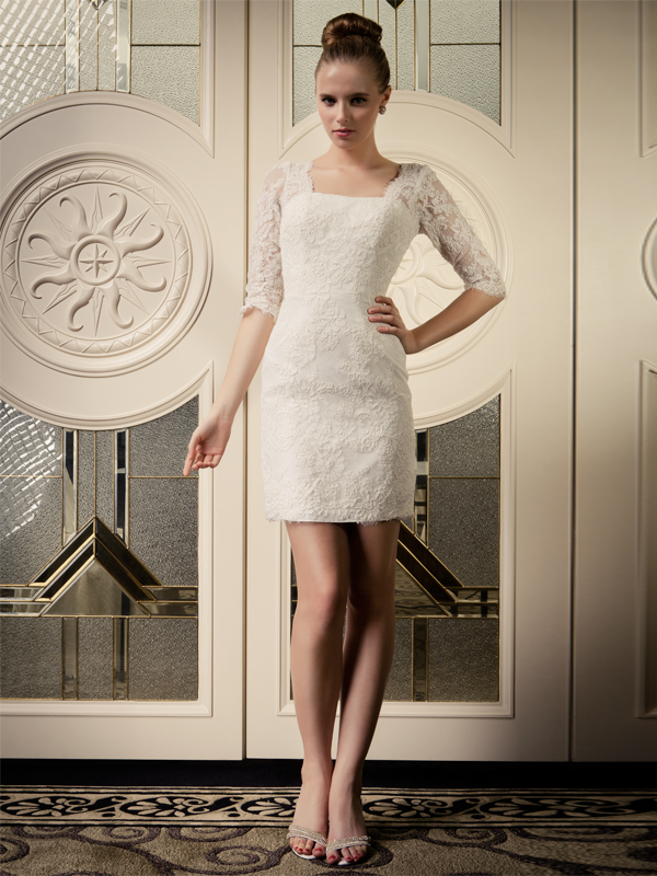 elegant short lace sleeves wedding dress with V-shaped back