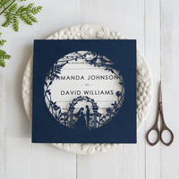 fairytale navy blue laser cut wedding invitations