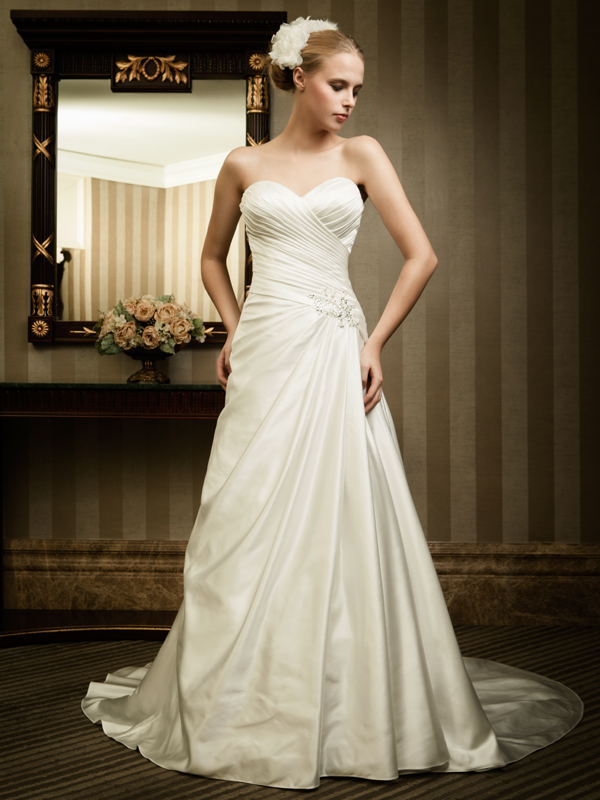 full length sweetheart wedding dress with lace-up back
