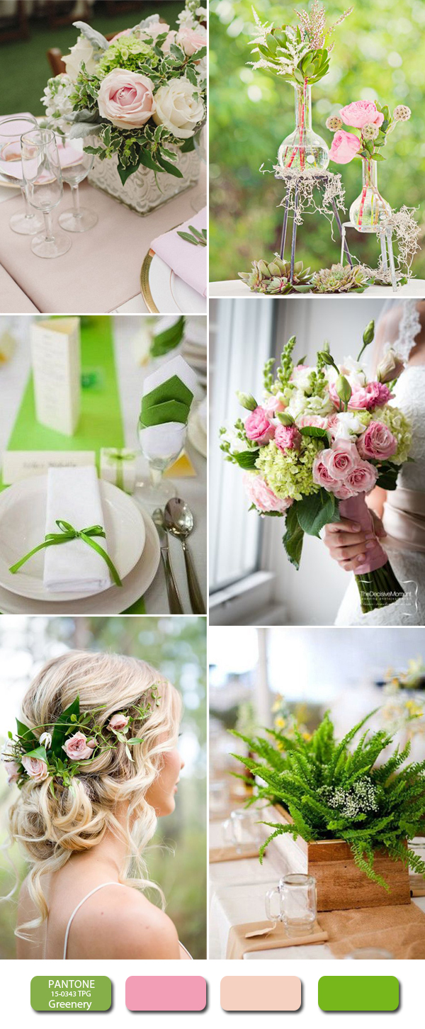 greenery and blush wedding color combos for 2017
