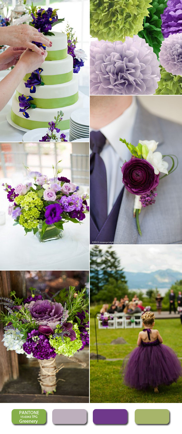 greenery and purple wedding color ideas