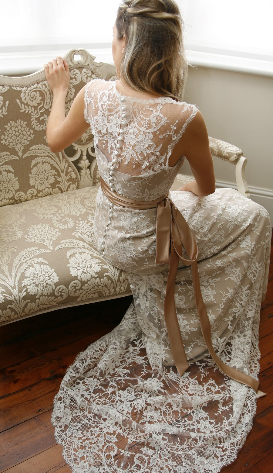 ivory-lace-wedding-dress-with-champagne-sash