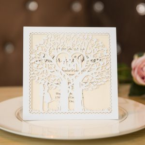 laser cut love tree monogram wedding invitations
