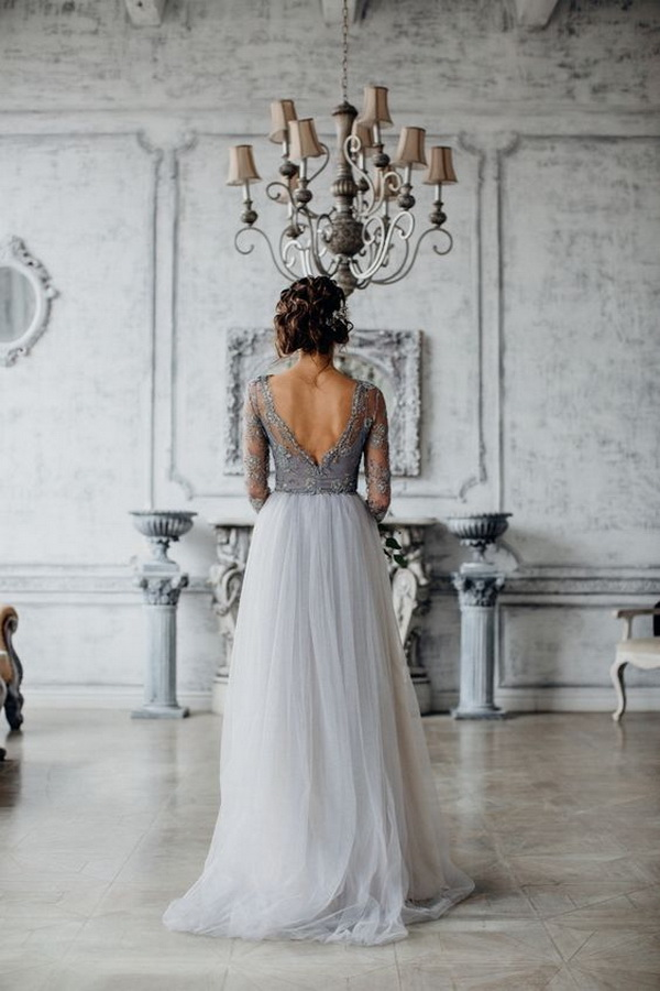 light-grey-lace-and-tulle-wedding-dress-for-brides