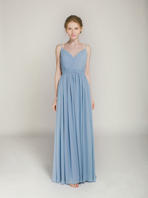 long windsor blue chiffon bridesmaid dress with straps