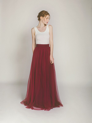 marsala tulle long bridesmaid dress with ivory top