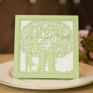 mint green love tree laser cut monogram wedding invitations swws010
