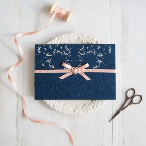 navy blue and peach wedding colors inspired laser cut wedding invitations