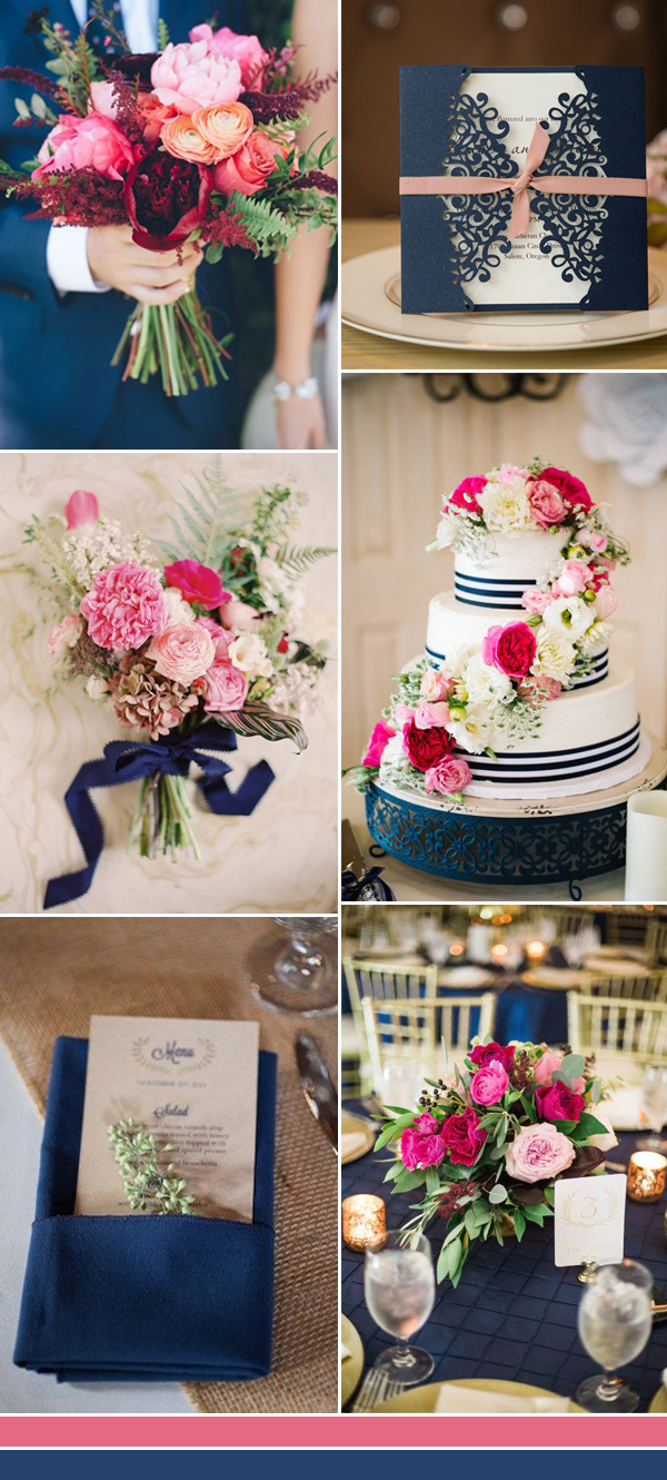 navy blue and pink wedding color ideas for 2017
