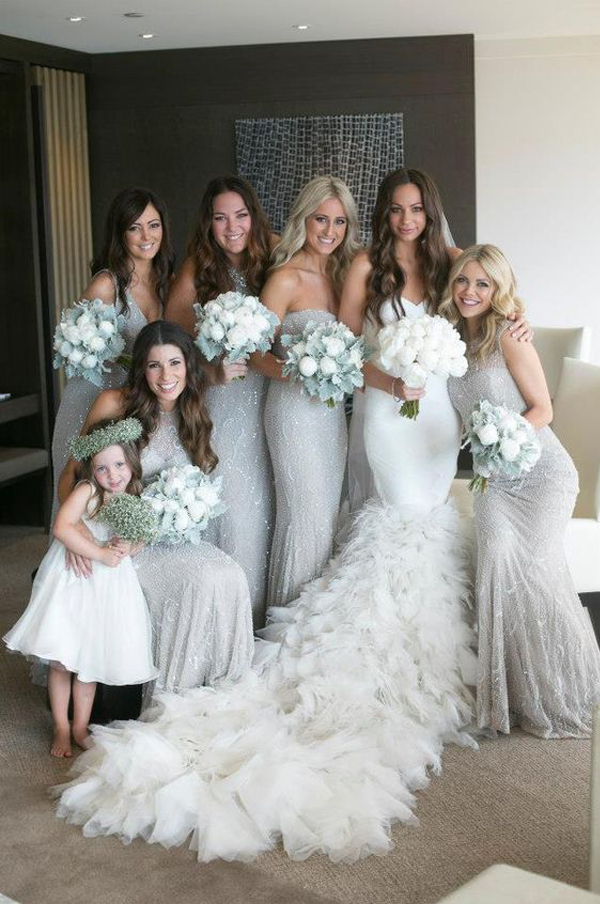New Style Silver Sequined Bridesmaid Dresses