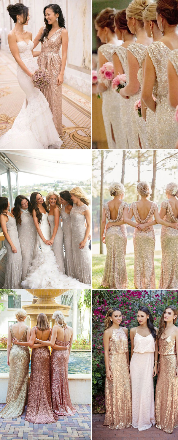 new style spark sequined bridesmaid dresses in long length