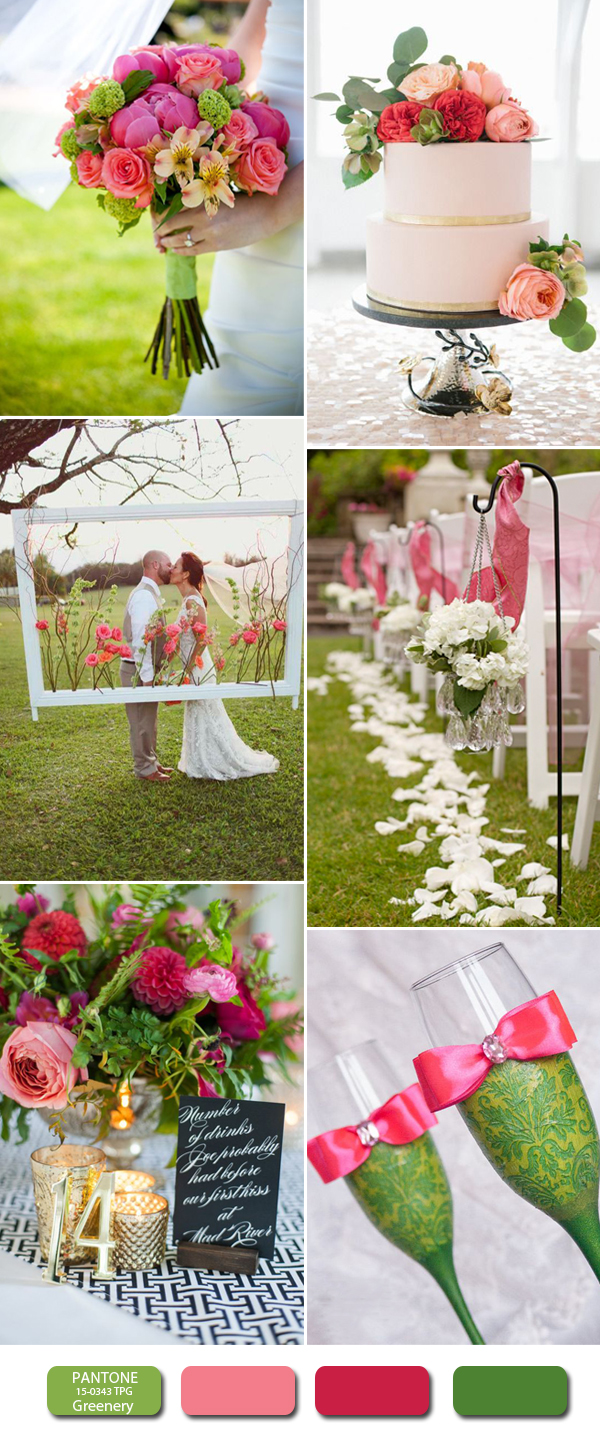 pink and greenery wedding color ideas for 2017