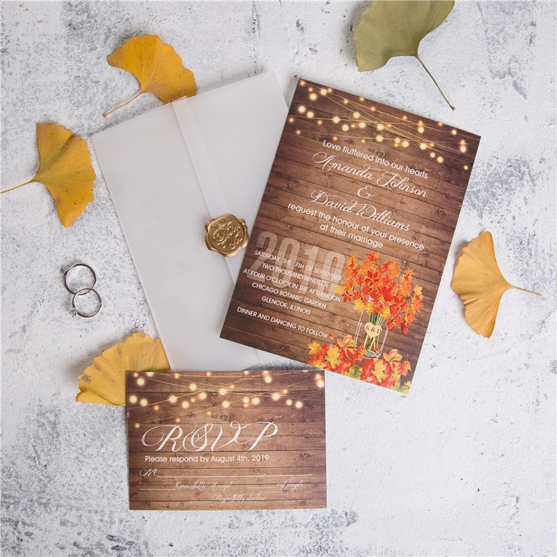 rustic string light mason jar maple leaf wedding invites with vellum paper pocket and wax seal