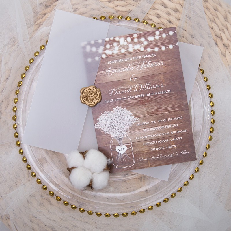 rustic stringlights and babybreath mason jar wedding invitation with vellum pocket and wax seal