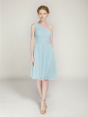 short one shoulder blue chiffon bridesmaid dress