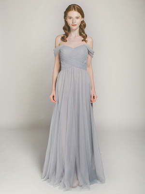 sky gray long off shoulder tulle bridesmaid dress
