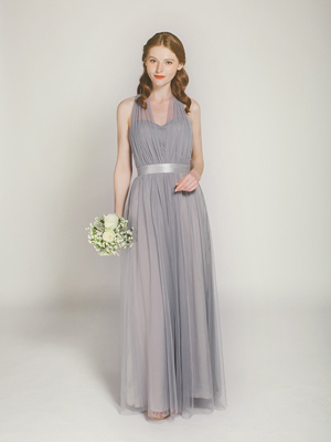 smoky grey long convertible tulle bridesmaid dress