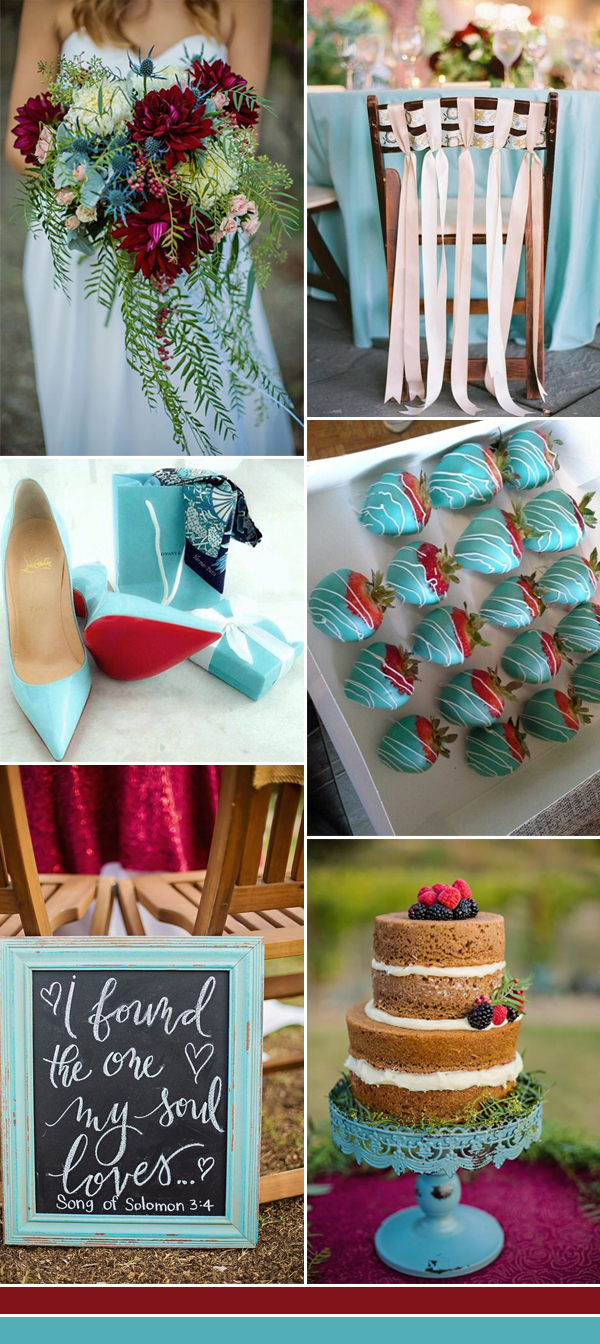 2017 turquoise and wine wedding color ideas