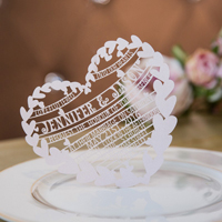 unique blush hearts laser cut wedding invitation