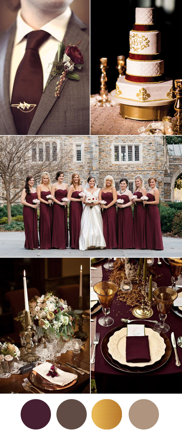 wedding ideas burgundy and gold six beautiful burgundy wedding colors in shades of gold 28072