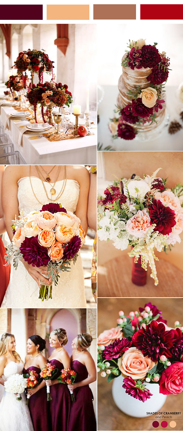 vintage burgundy, peach and brown wedding color inspiration