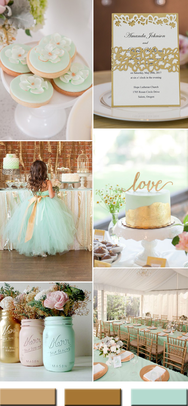 2017 summer mint and gold wedding color ideas