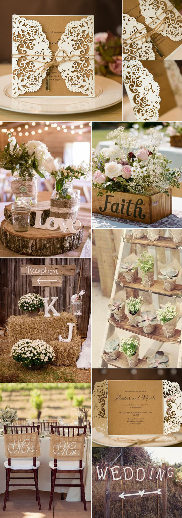 Country Chic Wedding Ideas with Vintage Wedding Invitations