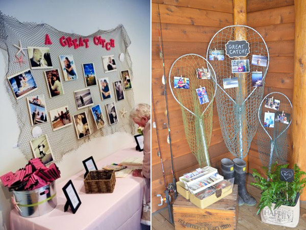 Fish Net and Photos for Beach Wedding Decorations