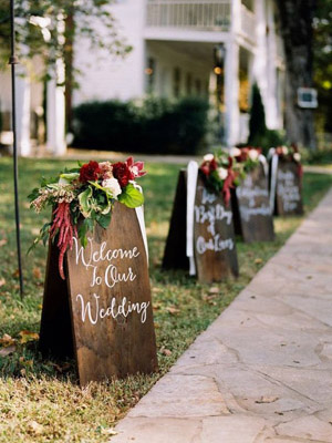 Floral Green and Burgundy Wedding Signs to Welcome Your Guests
