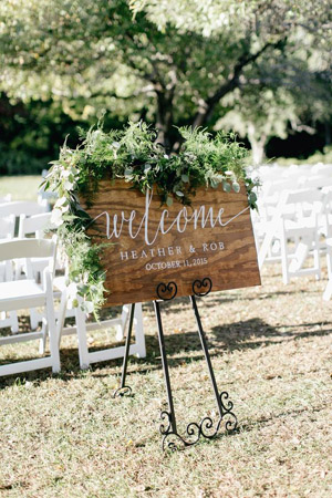 Lush Welcome Wedding Signs for Outdoor Weddings