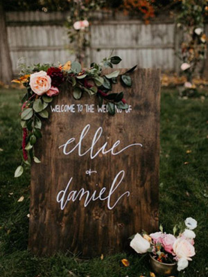 Pink and Greenery Floral Wedding Signs ideas