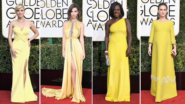 Vibrant Fashion Trends of Yellow Color on the Red Carpet of 2017 Golden Globe