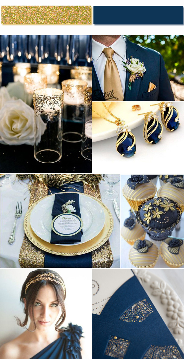 Vintage Gold Wedding Color Ideas Combined with Navy Blue