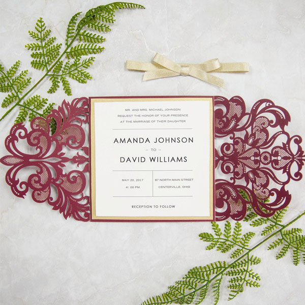 burgundy and gold glitter laser cut invitation cards for fall weddings swws018