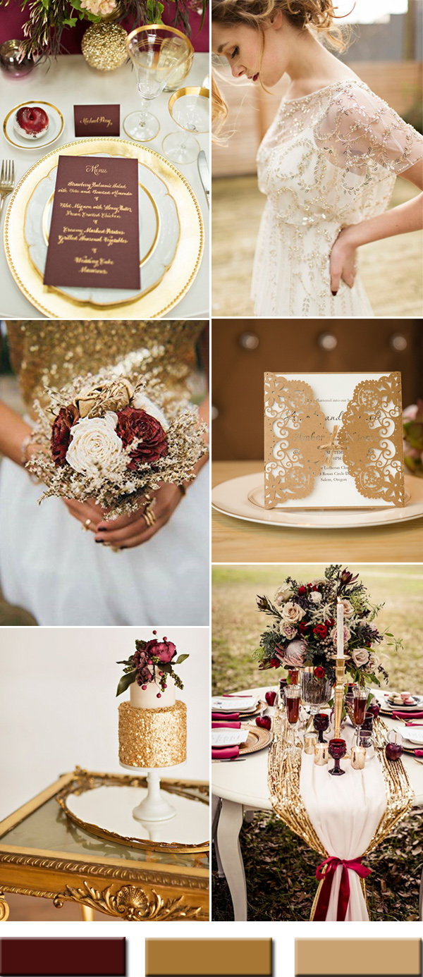 burgundy wine and gold wedding color combos ideas