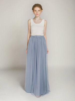 dusty blue long tulle bridesmaid dress swbd011