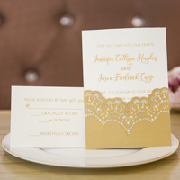 elegant gold and white laser cut wedding invites swws016