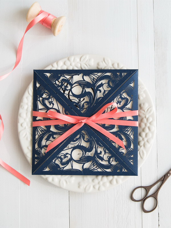 elegant-navy-blue-laser-cut-wedding-invitations-with-coral-ribbons-swws029