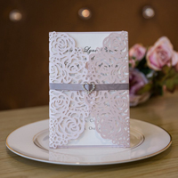 elegant vintage blush floral trifold-laser-cut-invitations with ribbon and heart crystal swws024