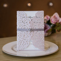 elegant vintage blush floral trifold-laser-cut-invitations-with ribbon and heart crystal swws024