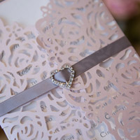 elegant vintage blush floral trifold laser-cut-invitations with ribbon and heart crystal swws024_1