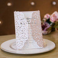 elegant vintage blush floral trifold laser-cut-invitations with ribbon and heart crystal swws024_2