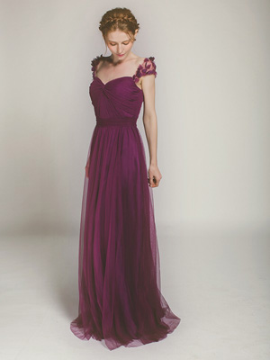 full length tulle bridesmaid dress with floral straps in aubergine swbd001