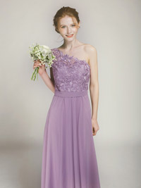 lace and chiffon lavender bridesmaid gown for spring summer weddings